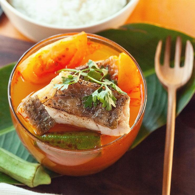 Tue, Aug 13 - Asam Pedas Seabass Served with Ladyfinger, Tomato, Onion and Rice