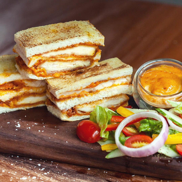 Tue, Aug 6 - Chicken Katsu Sando with Curry Mayonnaise, Served with Lettuce, Cherry Tomato, Cucumber and Onion.
