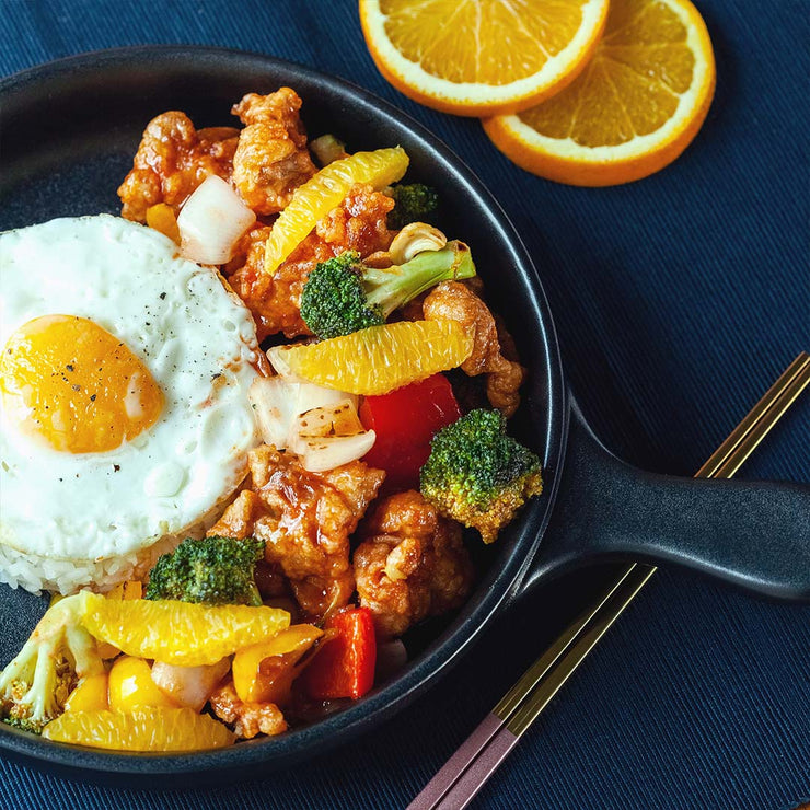 Fri, Aug 16 - Deep Fried Chicken Tossed with Orange Sauce, Bell peppers, Onion, Broccoli and Served Rice and Fried Egg