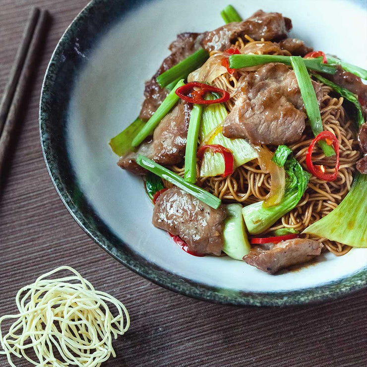 Thurs, Aug 15 - Dry Beef Noodles with Bok Choy, Red Chilli, Garlic and Onion - Living Menu