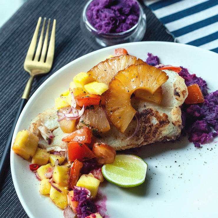 Mon, July 1 - Pan-seared Dory with Purple Mashed Potato and Tropical Fruit Salad by Eva Juliani
