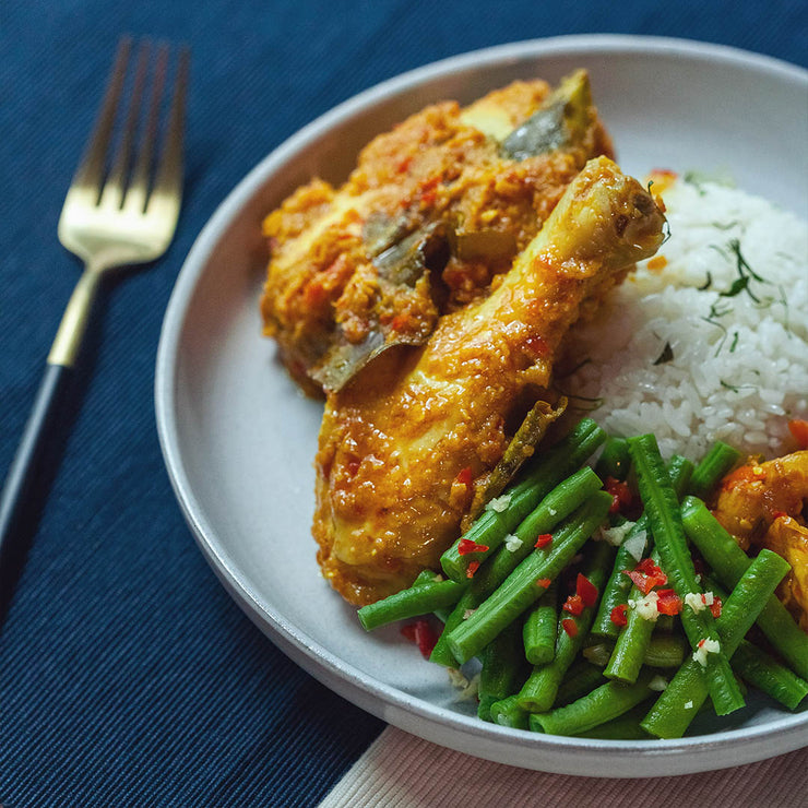 Mon, July 22 - Chicken Rendang served with Coconut Rice, Spiced Long Beans and Achar