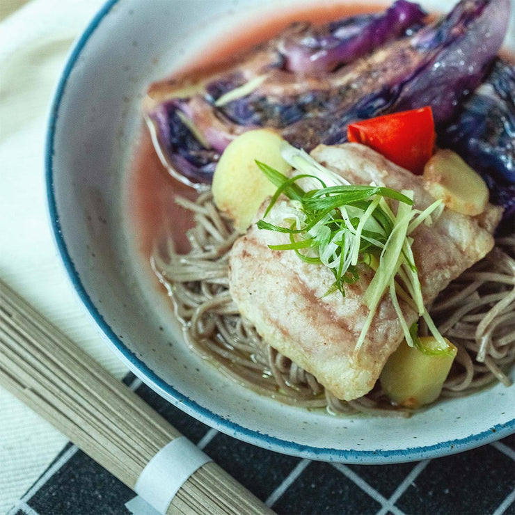 Thurs, July 25 - Salmon Poached in Tamarind and Ginger Broth served atop Buckwheat Soba and Grilled Vegetables