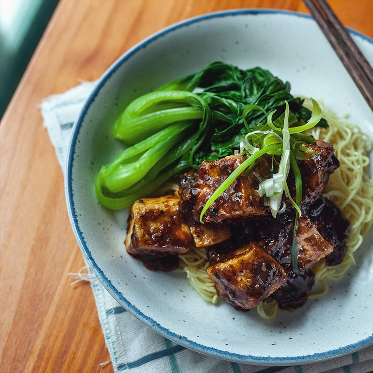 Mon, July 22 - Tofu with Black Bean Sauce Served Alongside Chinese greens and Hong Kong noodles - Living Menu