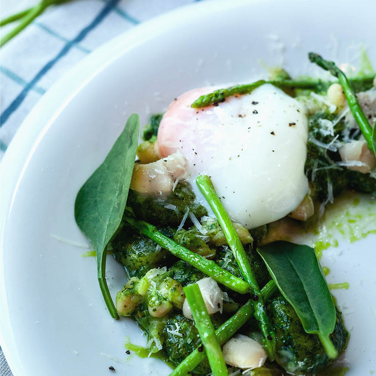 Fri, July 5 - Gnocchi with Spinach Pesto, Poached Egg and Asparagus