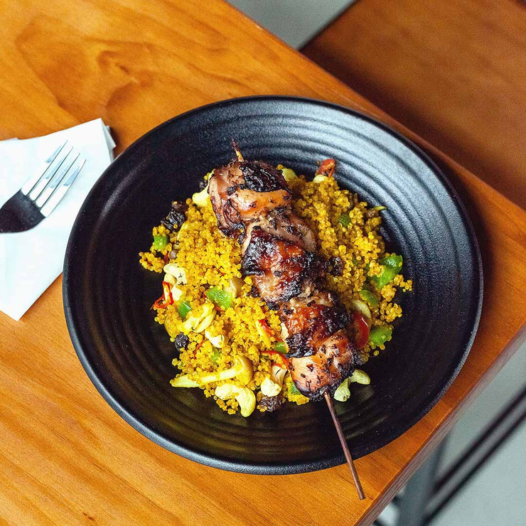 Mon, July 1 - Pineapple Fried Quinoa with Thai-style Grilled Chicken Skewer