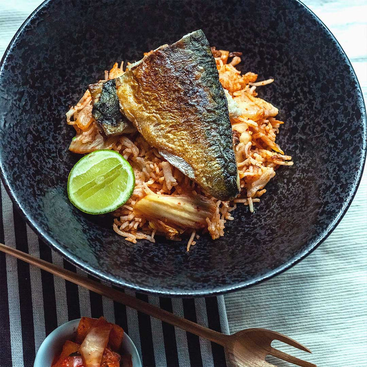 Thur, July 11 - Kimchi Fried Rice with Pan Seared Saba Fillet - Living Menu