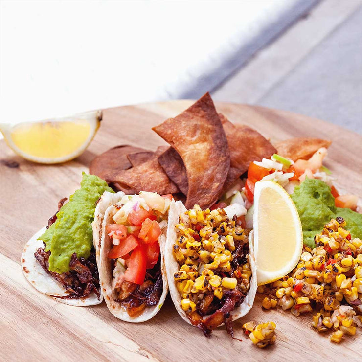 Thur, July 11 - Mock Pulled Beef Tacos with Tomato Salsa, Green Pea Puree and Corn Salsa