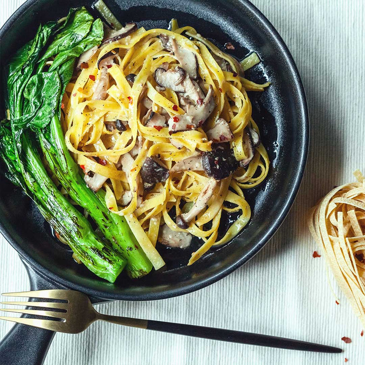 Mon, July 1 - Mushroom Tagliatelle with Grilled Choy Sum