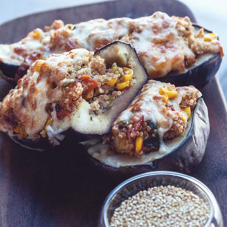 Tue, June 25 - Quinoa and Veggie Stuffed Eggplant - Living Menu