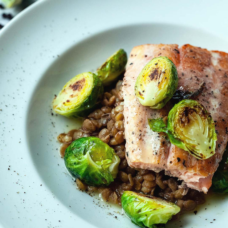 Fri, July 12 - Smoked Salmon with Green Lentils and Brussel Sprouts