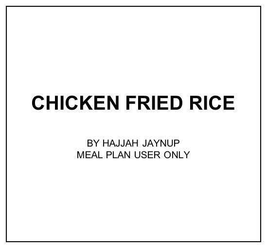 Wed, Dec 4 - Chicken Fried Rice - Living Menu