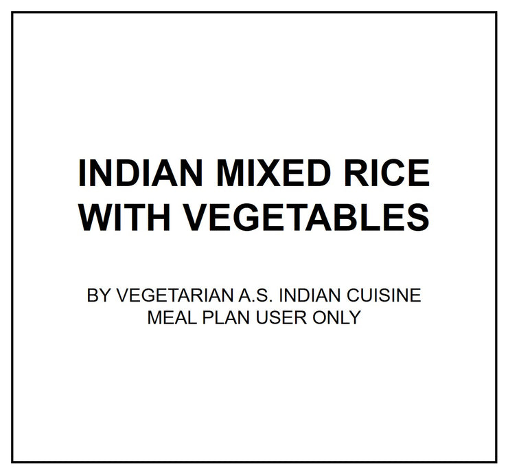 Thurs, Sep 5 - Indian Mixed Rice with Vegetables