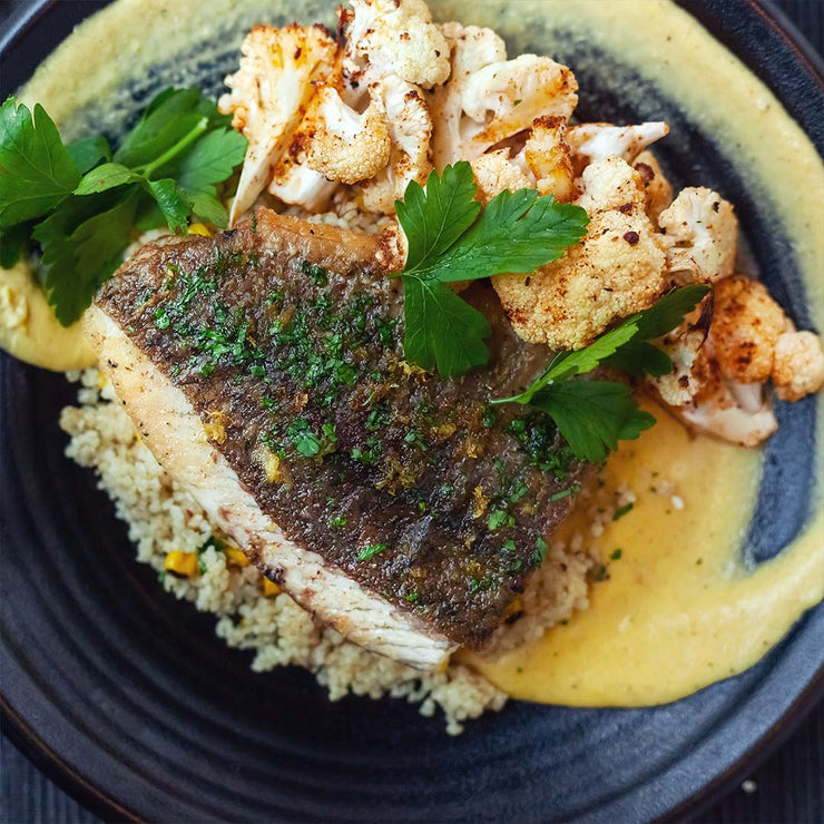 Fri, July 26 - Pan Seared Sea Bass with Miso Corn Puree, Roasted Cauliflower and Quinoa By Melvin Lam