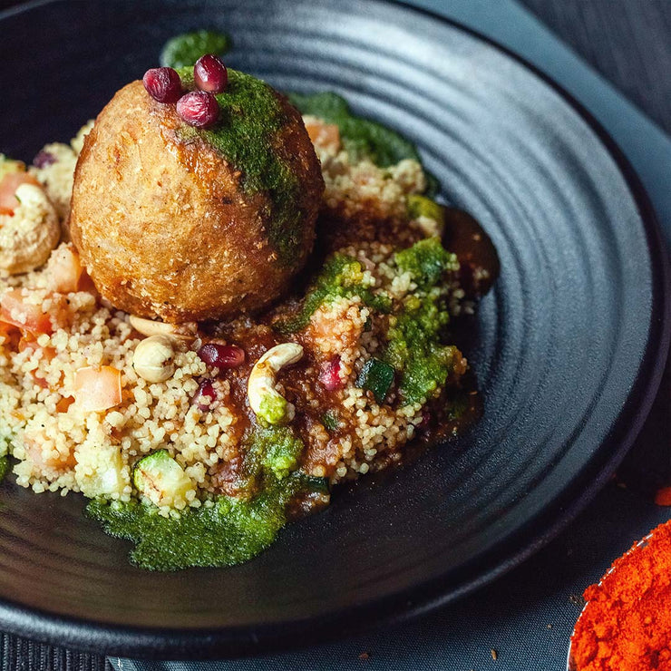 Mon, July 8 - Vegan Khopra Keema Canons with Stir-fried Couscous by Naman Tola