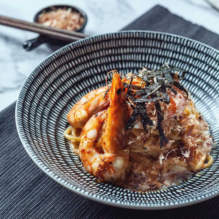 Tue, July 2 - Spiced Mentaiko Prawn Pasta with Poached Egg by Noor Hisham