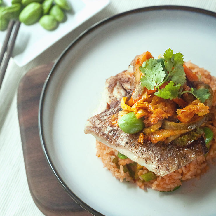 Wed, Aug 21 - Pan Seared Seabass With Spicy Petai Fried Rice And Acha - Living Menu