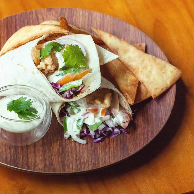 Wed, Aug 7 - Seabass Burrito with Sour Cream Dressing, Served with Taco Chips - Living Menu