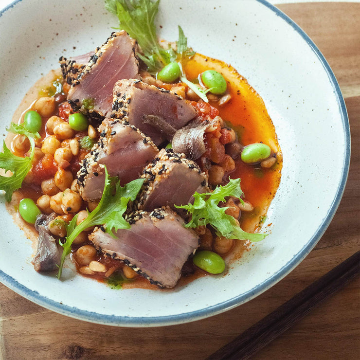 Thurs, Sep 5 - Seared Sesame-crusted Tuna Steak with Chickpea Tomato Stew And Vegetables - Living Menu