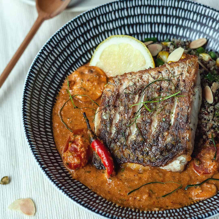 Mon, June 24 - Barramundi in Cashew Curry with Tricoloured Quinoa by Ng Soo Leng - Living Menu