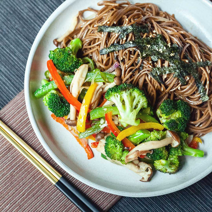 Mon, Aug 5 - Stir Fried Soba with Shimeji Mushroom, Bell Peppers, Broccoli, Onion & Garlic (Vegan)