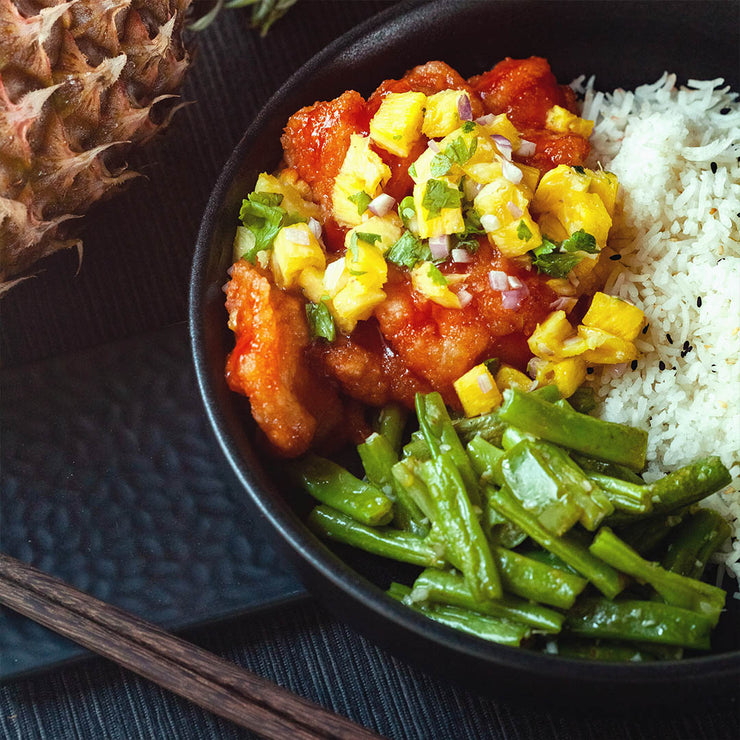 Fri, Sep 6 - Sweet and Spicy Fish With Pineapple Salsa and Stir Fried Long Beans - Living Menu