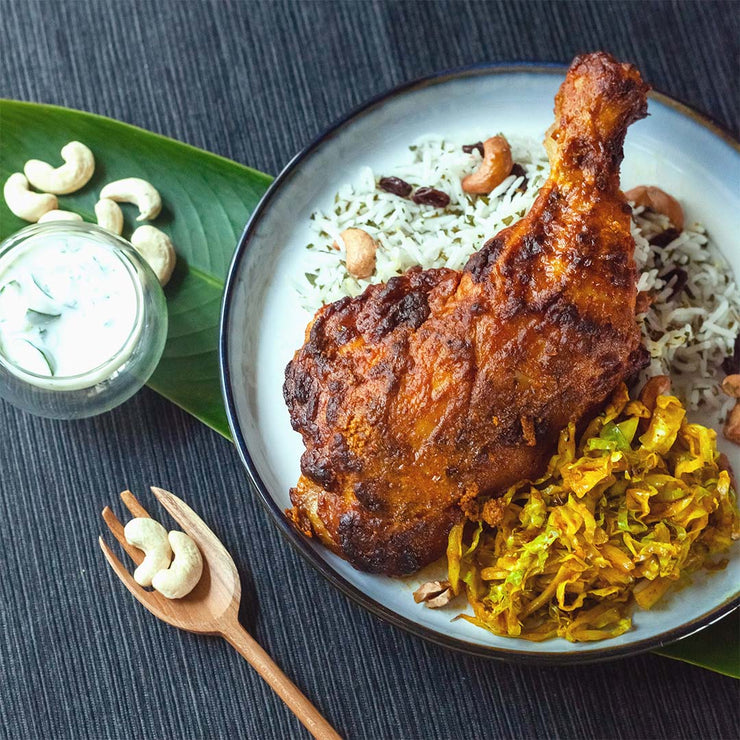 Mon, Aug 26 - Tandoori Chicken Served With Basmati Rice, Turmeric Cabbage And Cucumber Raita