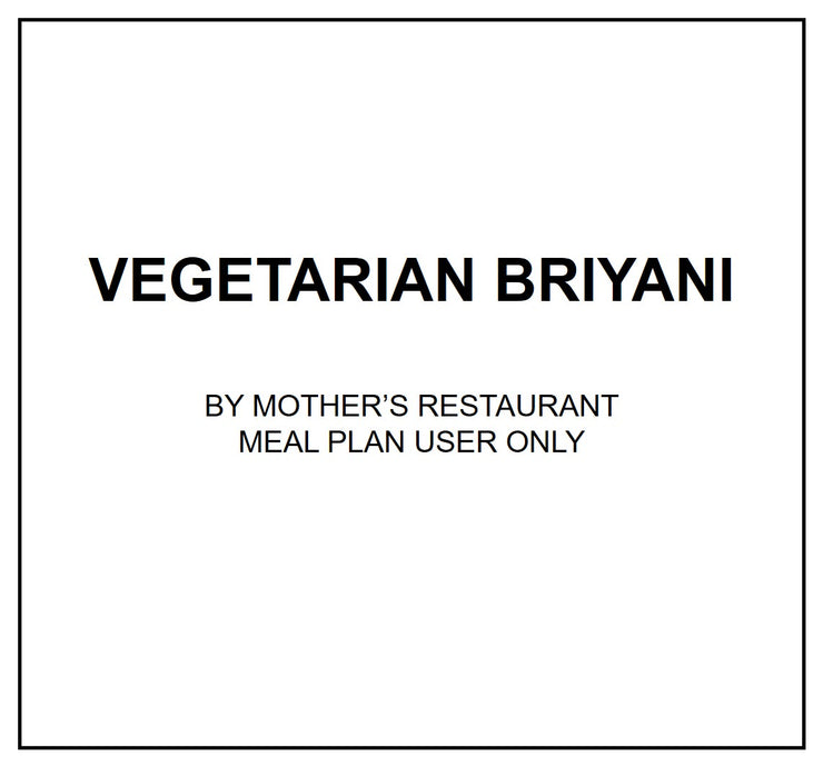 Tue, July 23 - Vegetarian Briyani - Living Menu