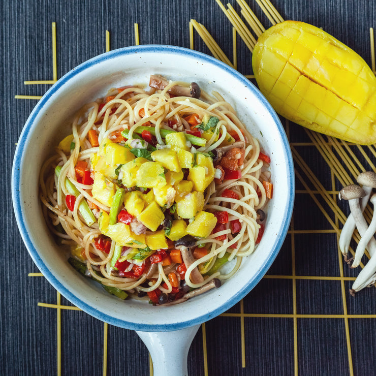 Tue, Feb 25 - Vegetable Pasta With Mango Salsa (Vegan) - Living Menu