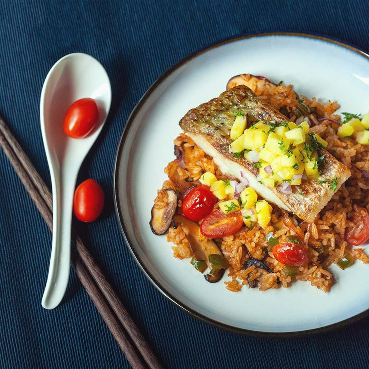 Thu, Mar 26 - Tom Yum Fried Rice And Seabass With Mango Salsa - Living Menu