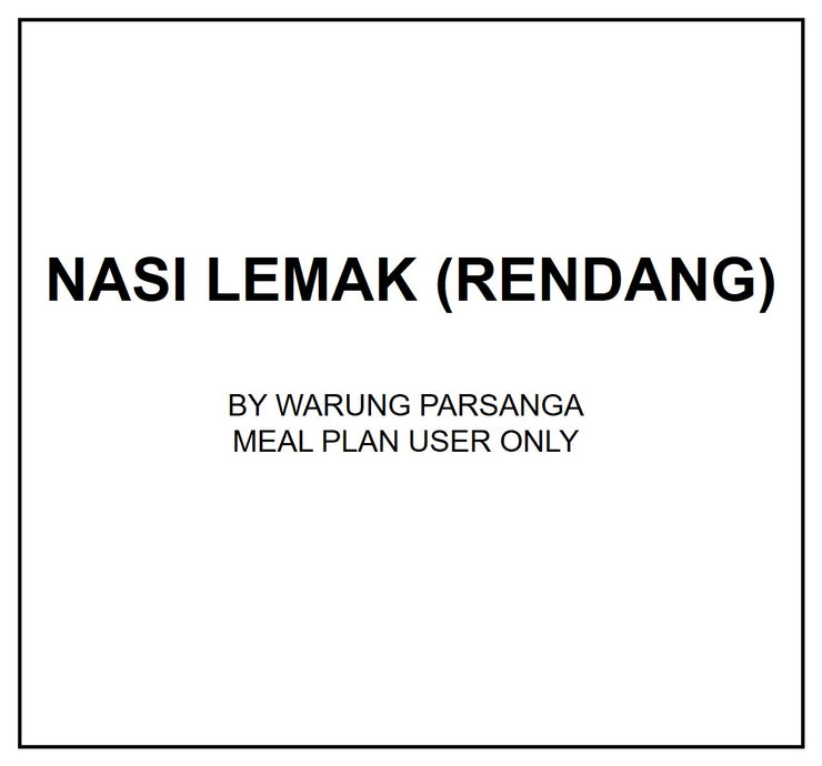 Mon, Oct 14 - Nasi Lemak (Rendang) - Living Menu