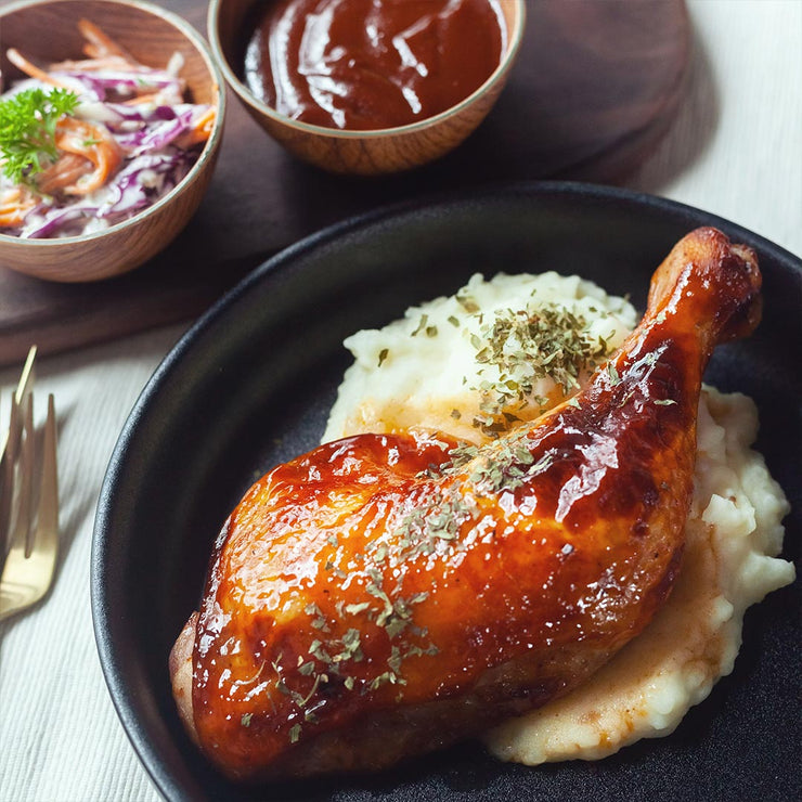 Tue, Jun 2 - Honey Bbq Sauced Chicken Leg Served With Mash Potatoes And Seasonal Vegetables