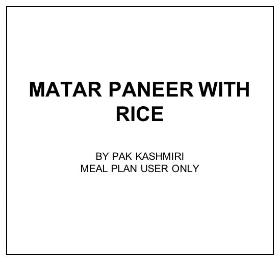 Wed, Dec 18 - Matar Paneer With Rice - Living Menu