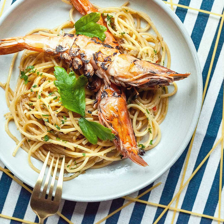 Fri, Dec 13 - Aglio Olio With Chinese Pickles And Grilled Tiger Prawns - Living Menu