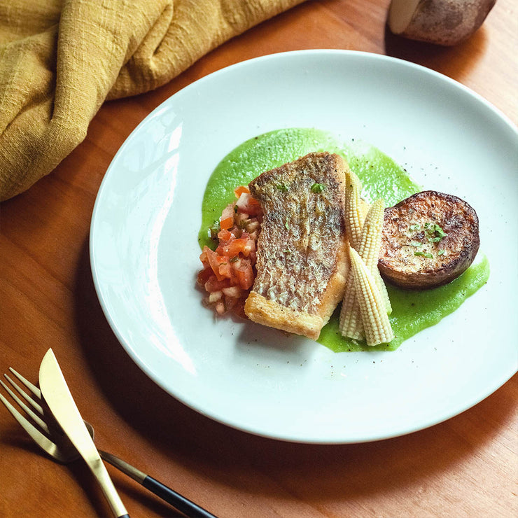 Thu, Dec 5 - Grill Seabass Served With Green Pea Puree, Tomato Salsa And Roasted Potato