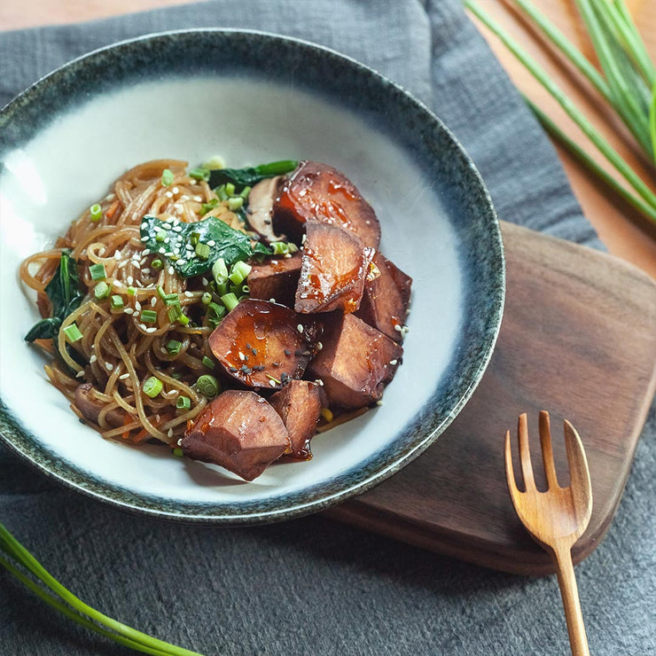 Wed, Jan 22 - Candied Sweet Potato With Japchae & Spinach (Vegan) - Living Menu