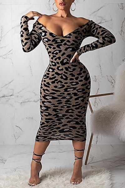 Leopard Print Long Sleeve Off Shoulder Wild Calf-Length Dress