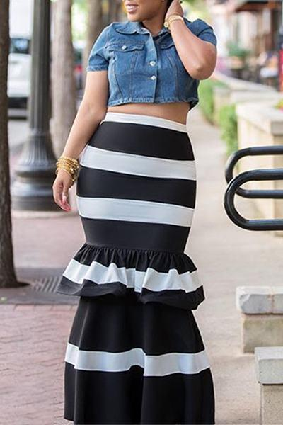 Black White Long Striped Ruffle Peplum Maxi Skirt