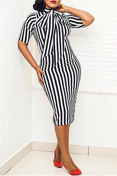 Striped Pussy Bow Dress