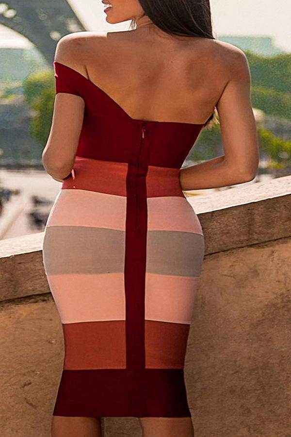 Red Pink Bandage Dress