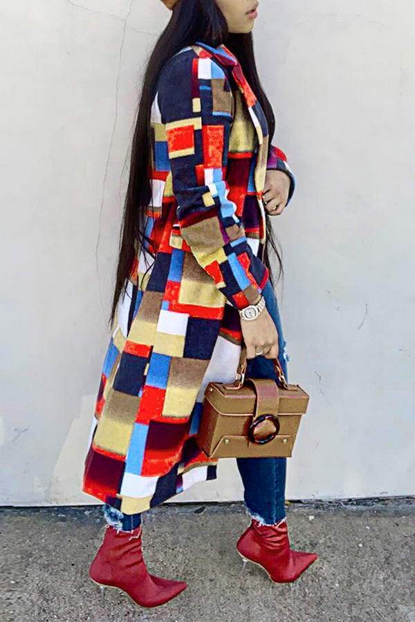 Patchwork Print Coat