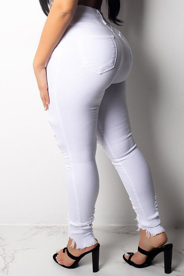 White Ripped Skinny Jean