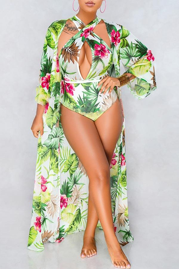 Floral Robe & Swimsuit