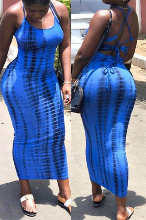 Blue Tie Dye Long Dress