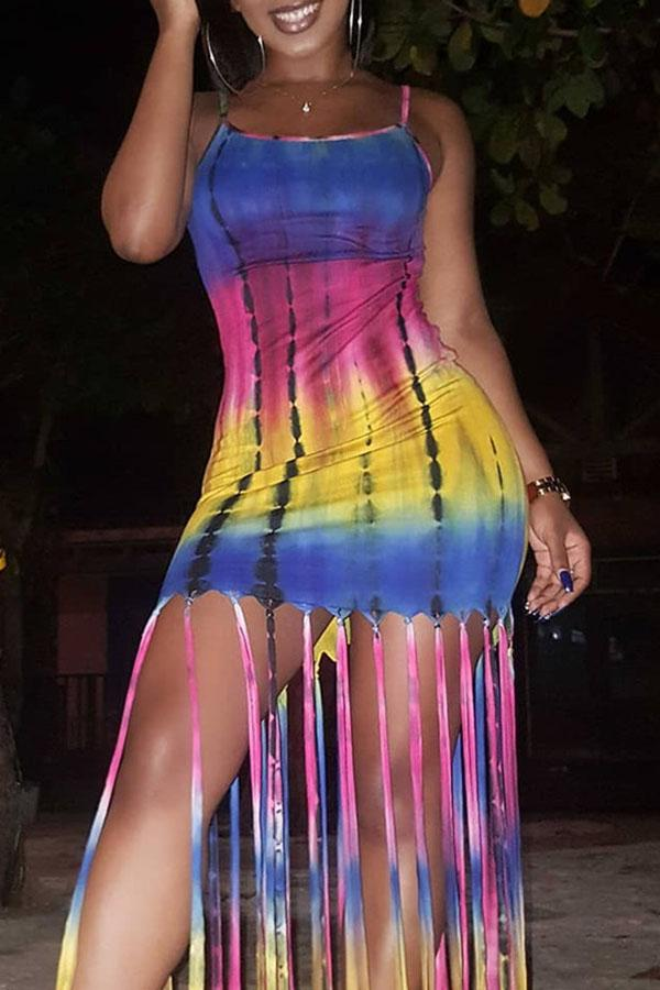 Tie Dye Fringe Dress