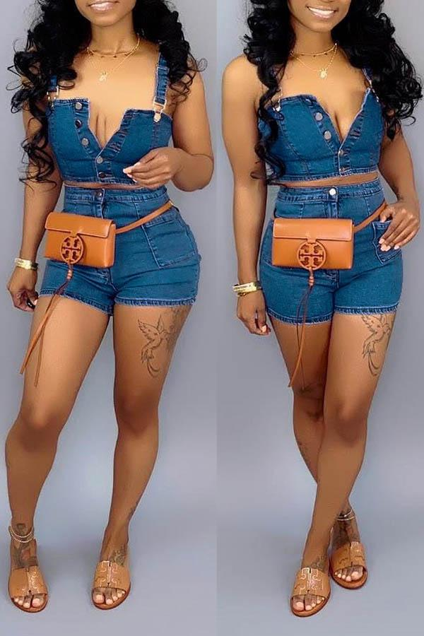 Denim Corset & Shorts