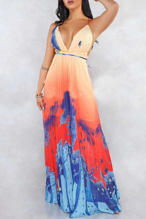 Backless City Print Maxi