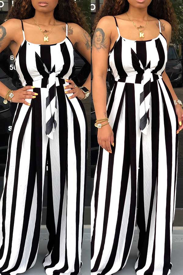 Sexy Sling Belt Stripe Casual Night Club jumpsuit