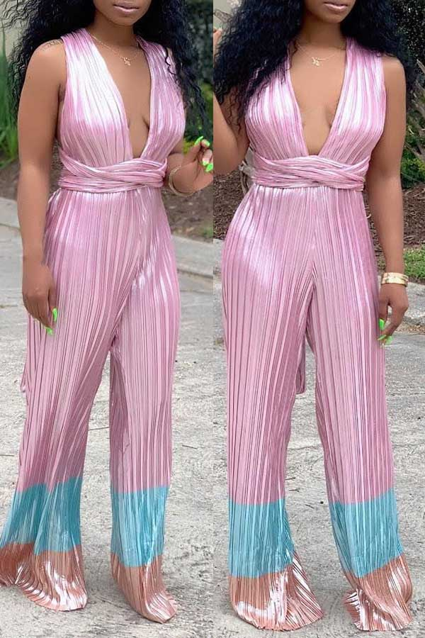 Sling Belt Pleated Jumpsuit