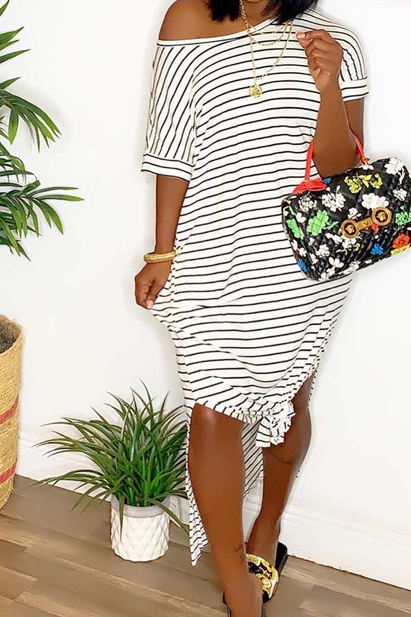 Striped Diagonal Collar Open Fork Dress